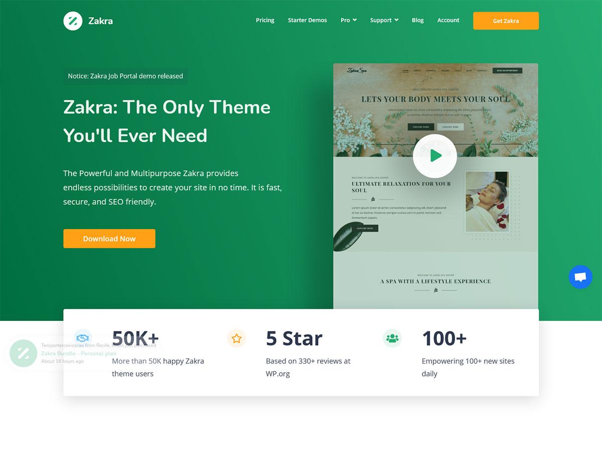 Zakra- Review of a Multi-purpose WordPress theme.